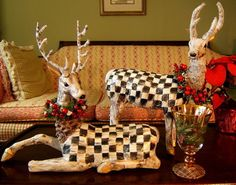Pair-of-Rein-DEER-HOLIDAY-Christmas-Decorations-with-MacKenzie-Childs-Bag