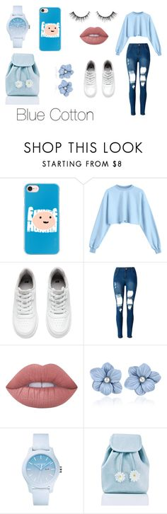 """""""Blue Cotton"""" by itsmylife-sandra ❤ liked on Polyvore featuring Casetify, H&M, WithChic, Lime Crime, Lacoste and Sugarbaby"""