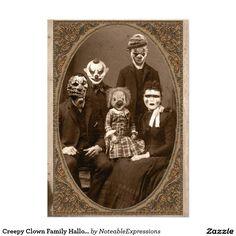 "Creepy Clown Family Halloween Party 5"" X 7"" Invitation Card"