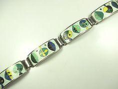 Perli Stegemaille Armband Vintage 30er 50er Emaille enamel bracelet