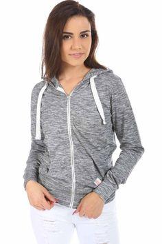 Salt Tree Women's Marled Lightweight Hooded Sweatshirt With Zipper Pull, US Seller