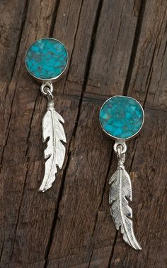 Jewelry: Silver Feather on Turquoise Disc Post Western Cowgirl Earrings