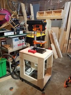 A basic but ideal drill press stand - uses a Kreg jig to attach pieces together