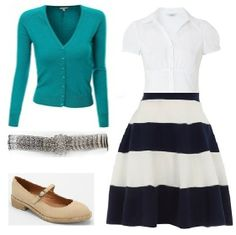 Business Casual Starter Kit Day 50: Aqua cardigan, white blouse, blue & white stripe skirt, silver metal belt, tan shoes.