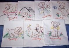 Vintage days of the week kitchen towels with puppies. My set is kittens!!