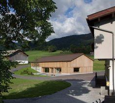 Larch-clad community centre by Bernardo Bader Architekten