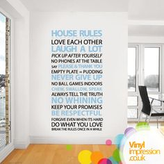 House rules Vinyl Wall Sticker Housewares Home by Vinylimpression, £29.99