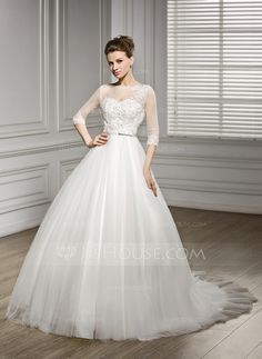 A-Line/Princess Scoop Neck Court Train Satin Tulle Wedding Dress With Beading Appliques Lace Sequins Bow(s) (002056956)