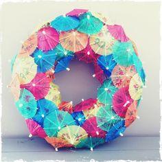 Parasolletjes krans voor Daan's verjaardag