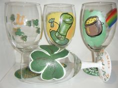 Need 4- save by getting a whole set!,   St. Patrick's Day Hand Painted glasses set of 2  by Glass2Adore, $9.89