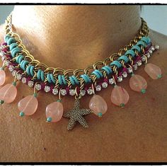 Marine Star & Strass necklace