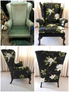 Parker Knoll wing chair re-upholstered in Sanderson Sweet Bay fabric. Reupholster Furniture, Upholstered Furniture, Furniture Refinishing, Funky Furniture, Furniture Makeover, Chair Makeover, Refurbished Furniture, Repurposed Furniture, Target Outdoor Chairs