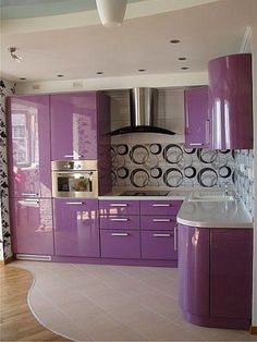 Colorful Kitchen has never been so Cute! Since the beginning of the year many girls were looking for our Trending guide and it is finally got released. Now It Is Time To Take Action! Source by petpenufva Kitchen Cupboard Designs, Kitchen Room Design, Home Room Design, Modern Kitchen Design, Home Interior Design, House Design, Purple Kitchen Decor, Home Decor Kitchen, Purple Kitchen Designs