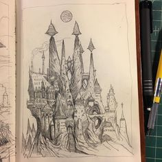 An imposing #sketch of #fantasyarchitecture by Sean Murray (@seanandrewmurray) of a towering monastery constructed high in the mountains of Sean's fantastical city The Great City of Gateway.  The architectural style of this structure is impressive to gaze upon with its pointy spires those impossible floating UFO-like objects atop the spires and the severely-pitched roof of the building on the left that looks like some gothic-inspired cathedral whose sharp angles would make anyone think twice…