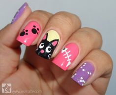 Having short nails is extremely practical. The problem is so many nail art and manicure designs that you'll find online Cat Nail Art, Animal Nail Art, Cat Nails, Cat Nail Designs, Fingernail Designs, Kawaii Nails, Nails For Kids, Manicure E Pedicure, Beautiful Nail Art
