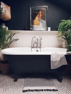 Roll top bath in a modern rustic bathroom in East London with timber cladding and dark walls to give it a sophisticated scandi feel Bathroom Styling, Bathroom Interior Design, Interior Office, Bathroom Designs, Modern Interior, White Bathroom, Small Bathroom, Funky Bathroom, Funky Kitchen