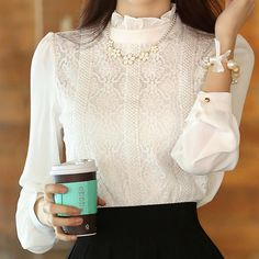 Buy now Blusas Chemise Femme Chiffon White Lace Blouse Women Tops And Blouses 2015 new Korean Fashion Clothing 2016 Ladies Office Shirts just only $11.69 with free shipping worldwide  #womanblousesshirts Plese click on picture to see our special price for you