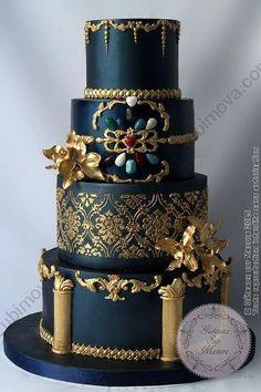 Wedding Cake Baroque Blue and Gold (from Paris Custom Cakes – Cake Design Training, Sugar Dough Workshops, Wedding Cakes, Exhibition Cakes) Unique Cakes, Elegant Cakes, Creative Cakes, Elegant Cake Design, Fancy Cakes, Cute Cakes, Pretty Cakes, Beautiful Wedding Cakes, Gorgeous Cakes