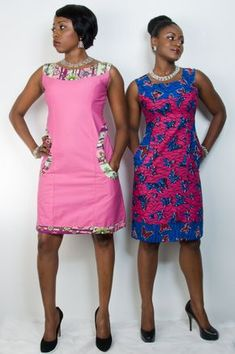 Ankara Arike Dress Item Product Detail: Two- fabric Ankara (African Print) dress Hand beaded neckline and pockets Sleeveless Knee length Full lining Machine washable Short African Dresses, Ankara Short Gown, African Print Dresses, Ankara Dress, African Print Fashion, African Fashion Dresses, African Attire, African Wear, African Women