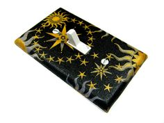 Black Celestial Sun Moon and Stars Light Switch Cover Home Decor Switchplate Switch Plate summer solstice 603
