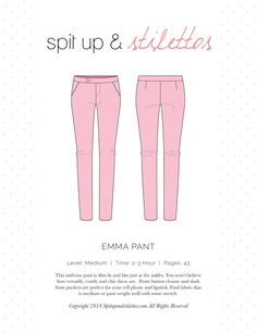 Emma Pants Sewing Pattern Spit Up Stilettos  Pants sewing pattern. Print on letter paper.