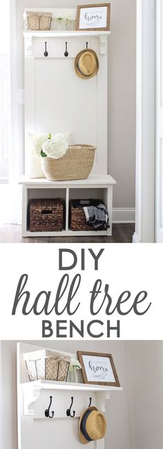 Entryway Hall Tree Bench DIY DIY Entryway hall tree bench, perfect for providing small space organization in entryways, mudrooms, & hallways! Small Space Organization, Home Organization, Woodworking Organization, Basket Organization, Organizing, Entryway Hall Tree Bench, Hall Bench, Small Entry Bench, Small Entrance