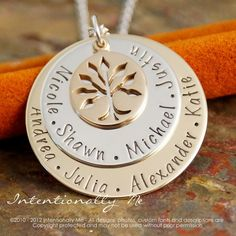 Personalized Jewlery - Hand Stamped Mommy / Grandma Necklace - Mixed Metals - Generations Family Necklace on Etsy, $80.00
