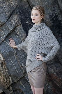 #12 Asymmetric Pullover by Sanae Gunji ~ each piece starts as a rectangle from the right seam, Stitches cast on at top corner to form a shaped sleeve, while the split collar and ribbing added separately.  Worsted 10ply yarn
