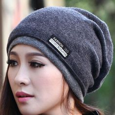 New Arrive High Quality Double Thick Beanie Hats for Women and Men Wool  Knitted Cap Warm Winter Hats Scarves Wraps 6d05cc101485