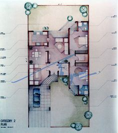 Project proposal. Dry pencil color rendering - Faber Castell.  By: Zehra Naqavi (Architect/artist)  Year: 1991