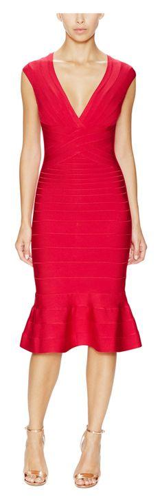 Herve Leger Camillia V-Neck Flounce Hem Dress - on #sale 29% off @ #Gilt  #HerveLeger