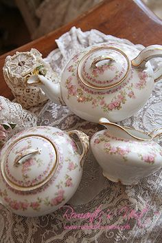 Havilland Limoges china. These were also available with the smaller flowers as blue forget-me-nots, which I am lucky to possess.
