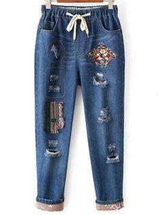 Jeans mit Tunnelzug an der Taille und Stickereien - blau