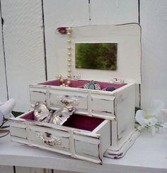 Large white jewelry box shabby chic jewelry organizer beach cottage
