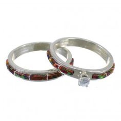 Navajo Ella Cowboy Fire Opal Sterling Silver Wedding Band Ring Set Size 5-3/4 EX58629-Handmade in the Native American Community