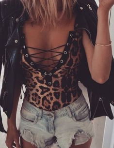 My obsession with leopard print continues! Love this bodysuit simple with a leather jackets and denim shorts! | 18 Bodysuits That Will Be Your Spring Wardrobe Essentials