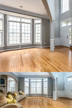 An entertainer's dream with ample natural light, arched doorways, decorative columns, grey paint, white trim and beautiful natural toned hardwood floors. Listed for $999,990 by The Casey Samson Team is a Wall Street Journal Top Team in Northern Virginia.