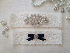 wedding garter set, ivory bridal garter set, ivory lace garter, crystal rhinestone, navy blue bow $19.90