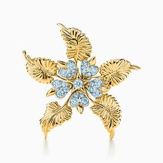 Tiffany & Co. Schlumberger® Floral Leaves clip in 18k gold with diamonds.