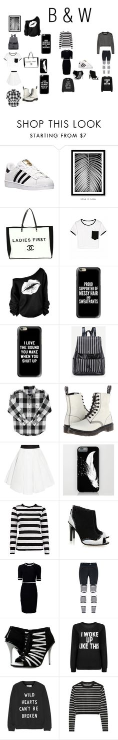 """""""B(lack) & W(hite)"""" by haileywilkins1 ❤ liked on Polyvore featuring adidas, Chanel, Casetify, Dr. Martens, Milly, Kat Maconie, Thierry Mugler, gx by Gwen Stefani, Zoe Karssen and TIBI"""