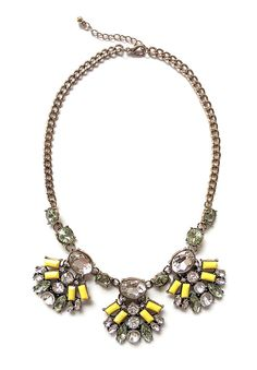 Yellow statement necklace with yellow rectangular geometric charms studded with faux diamond and rhinestones.