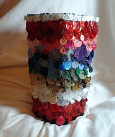 Rainbow Colored Button Covered Vase on origami-debbie website