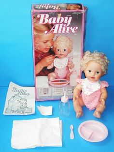 I got my Baby Alive doll from Santa when I was young, but my little sister decided to chew on the doll's lip and then the face. I was horrified, but mom and dad helped Santa out and got me a new one. (love you, sis) School Memories, Great Memories, My Childhood Memories, Childhood Toys, Retro Toys, Vintage Toys, 1960s Toys, Baby Alive Dolls, Adolescence