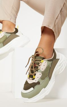 The Light Khaki Lace Up Chunky Sneakers. Head online and shop this season's range of shoes at PrettyLittleThing. Express delivery available. Cage Thoracique, Black Biker Boots, Clear Strap Heels, Flatform Sneakers, Lace Up Espadrilles, Loungewear Set, Latest Sneakers, Chunky Sneakers, Feminine Fashion