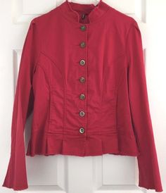 Ambition Red Cotton Jean Jacket Tailored Frayed Cuff Hems Bell Sleeves Size L #Ambition #JeanJacket #Casual