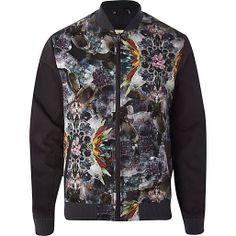 Grey gem stone abstract print bomber jacket