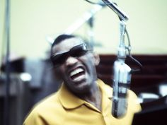 Ray Charles in the Recording Studio. Premium poster from Art.com