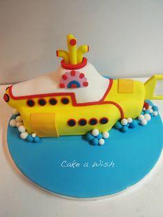 The beatles Yellow submarine cake Beatles Birthday, Beatles Cake, 4th Birthday Cakes, The Beatles, Cake Cookies, Cupcake Cakes, Cupcakes, Yellow Submarine Cake, Pumpkin Decorating
