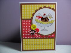 Handmade Birthday Card  Banana Split  by GGgreetings on Etsy