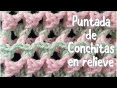 Puntada de conchitas en relieve en dos colores para mantas de bebe en gancho #46 - YouTube